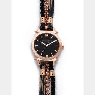 Printed Leather & Chain Wrap Watch 美式風格纏繞式吊飾手錶