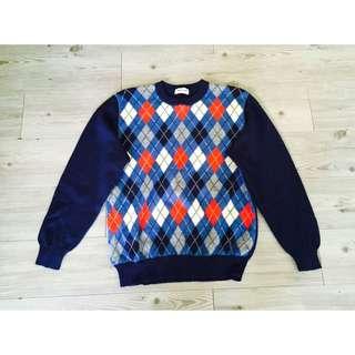 (全新)古著深藍色菱格紋針織衫