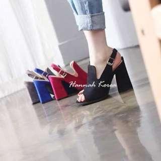 正韓 桃紅色粗跟高跟鞋/魚口鞋
