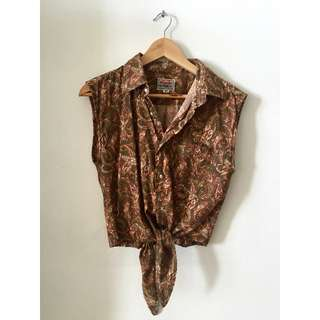 Vintage re-worked Wrangler top with tie