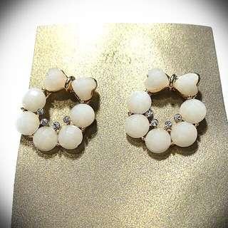 White Ribbon Wreath Earrings