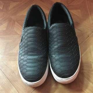 D+af皮革小厚底鞋