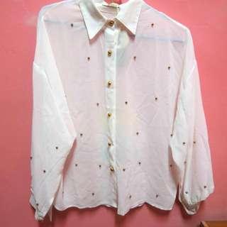 近全新  白色金珠雪紡襯衫