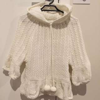 (Pending) Cute White Knit With Hood