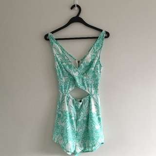 Alive Girl - Turquoise Cutout Playsuit