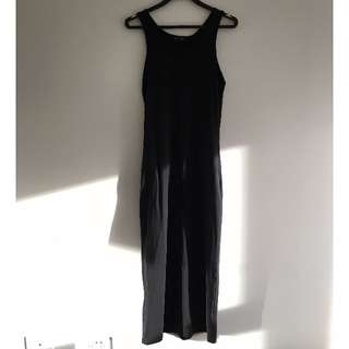 FemmeX - Black Jersey Maxi Dress with Gold Chain