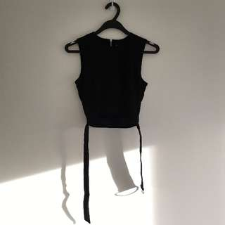 Young Hungry Free - Black Cutout Crop Top with Belt