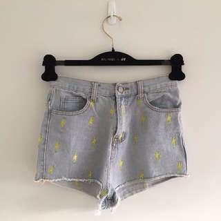High-waisted Denim Shorts with Lightning Pattern
