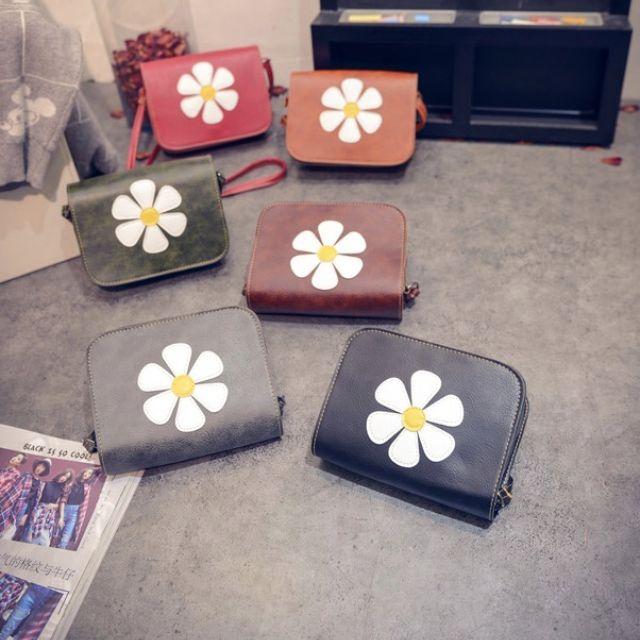 2016新款純色太陽花朵單肩斜跨包(6色)