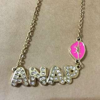日本知名品牌Anap水鑽嘴唇項鍊(major.wego.sly)