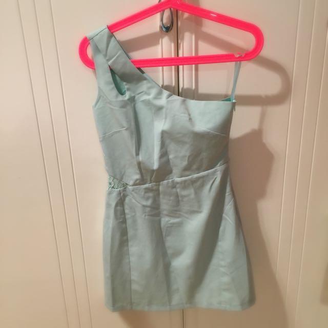單肩洋裝(湖水綠)