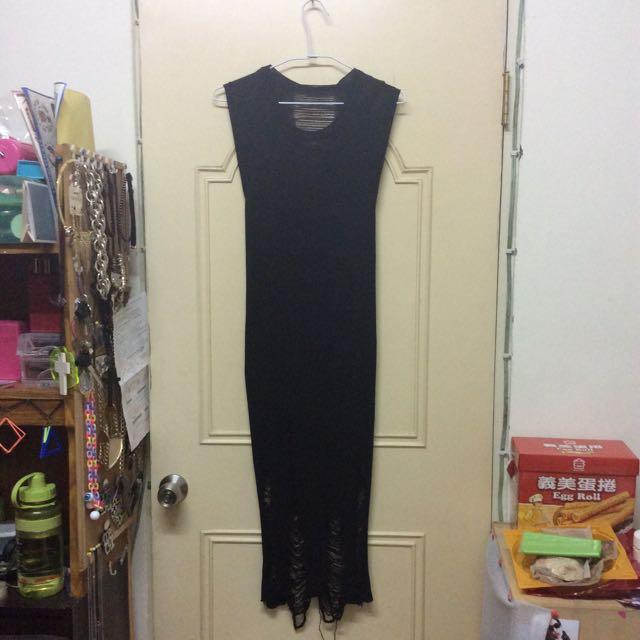 針織個性刷破黑色長裙