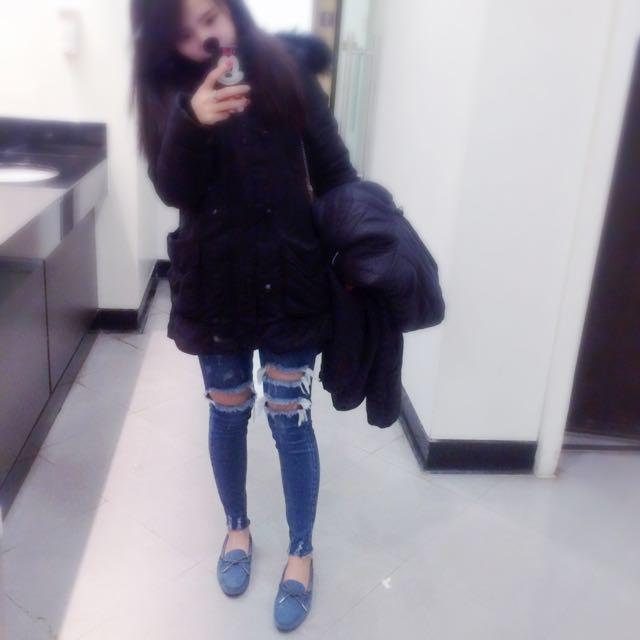 韓 刷破顯瘦牛仔褲