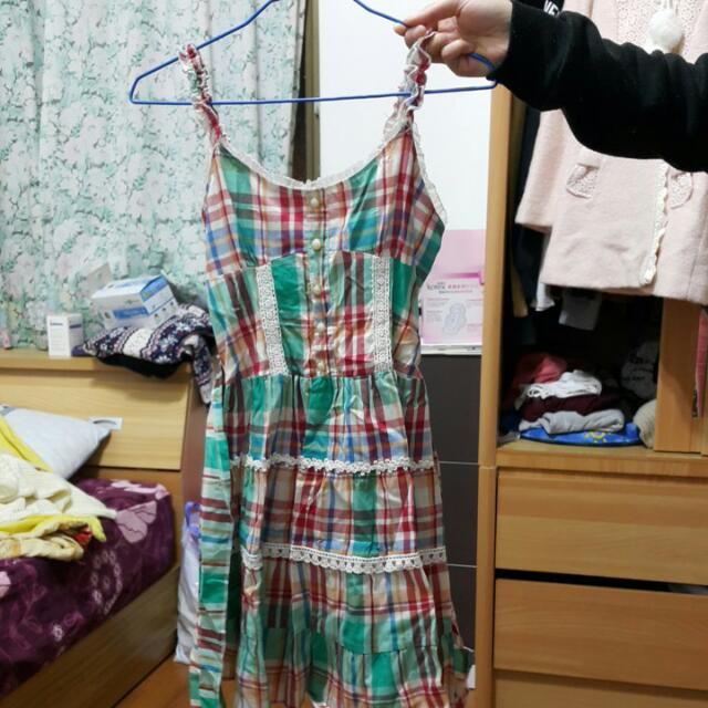 綠色 格紋 洋裝