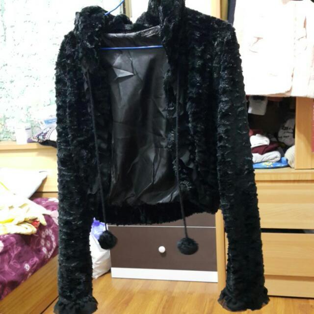 黑色 短版 外套