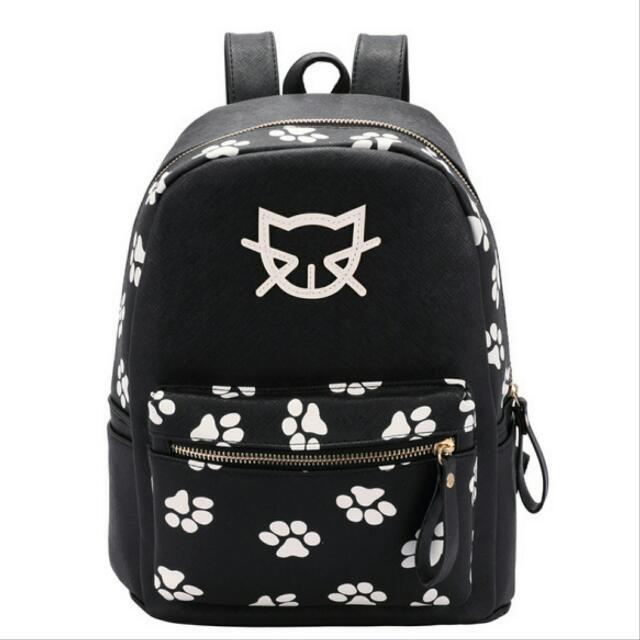 黑色 貓腳印 包包 背包