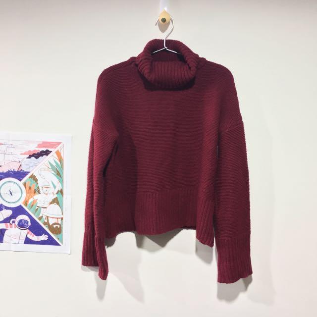 酒紅色 高領 微短版 毛衣 韓系