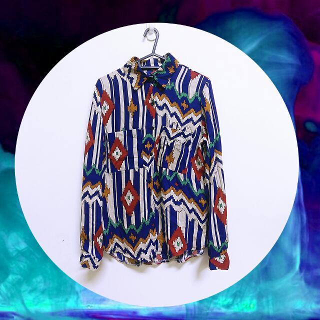 【含運下殺】復古 繽紛 幾何 寶藍色 雪紡 襯衫