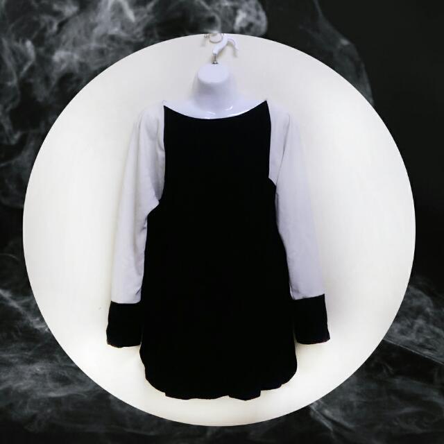 【含運下殺】韓版 黑白 簡約 Oversize 刷毛 洋裝