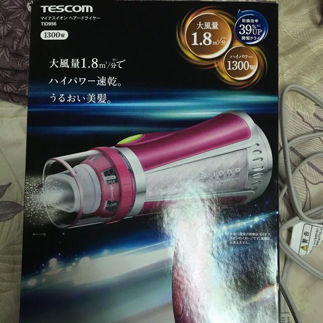 《 日本 現貨桃紅色 》 TESCOM TID-956大風量速乾 負離子吹風機 9種風 冷熱風 桃紅色 代購價1500元