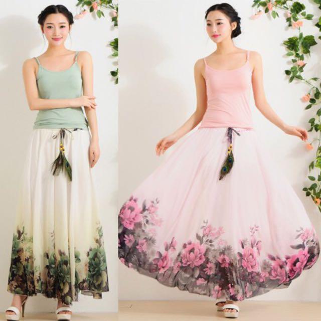 0c3a43fd42 Floral Sweet Elegant Flower Flowers Bohemian Flowy Beach Like Maxy Skirt  Halter Tube Dress ( Green . Pink ) - Code E432