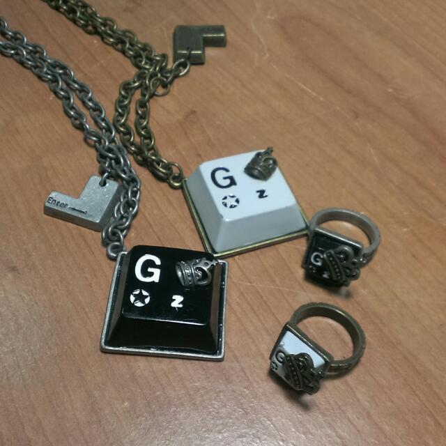 Gozo鍵盤項鍊戒指