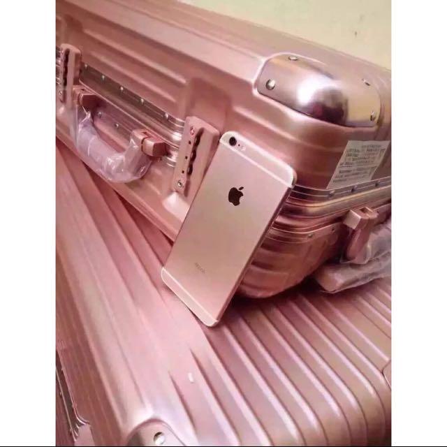 玫瑰金PC鏡面鋁框行李箱#送防塵袋及行李綁帶與吊牌#