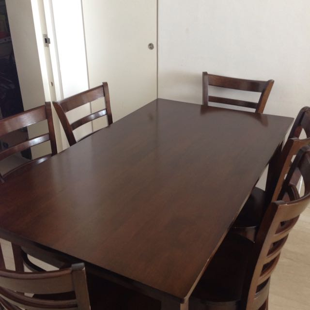 Dining Table, Picket & Rail 6 Seater, 6 Matching Chairs, Expat Moving Sale