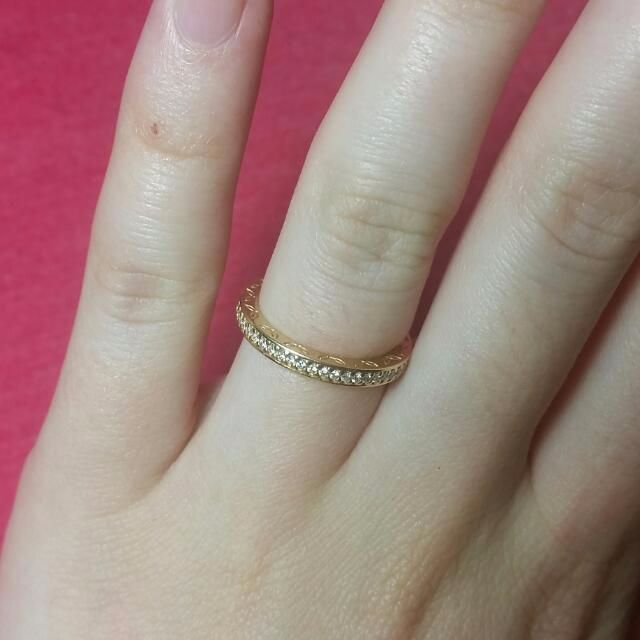 RARE Genuine 14ct Gold Pandora Ring With Diamonds 150163D RRP $1500