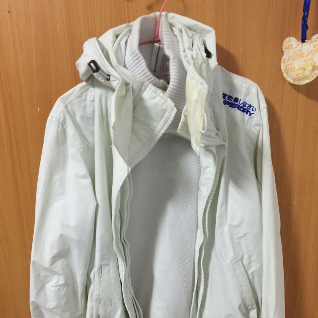 Superdry 經典3層拉鍊風衣外套白色m號