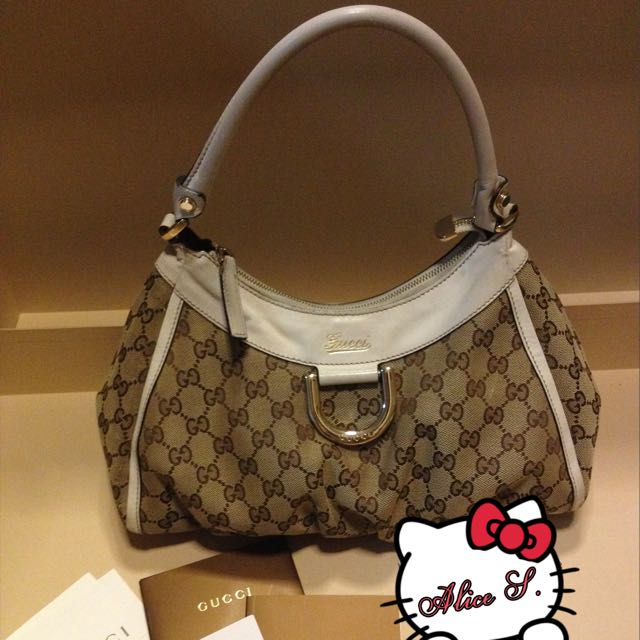 Used 100%Authentic Gucci Bag Beige/Ebony Gold D Ring