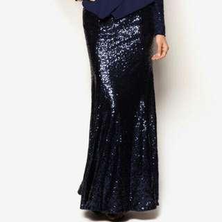 Zalia Sequin Mermaid Maxi Skirt Navy Blue