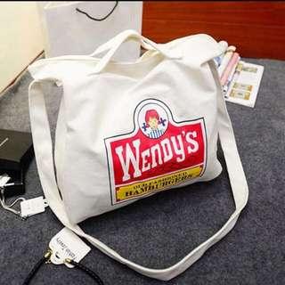 Wendy's 郵差帆布包(白)
