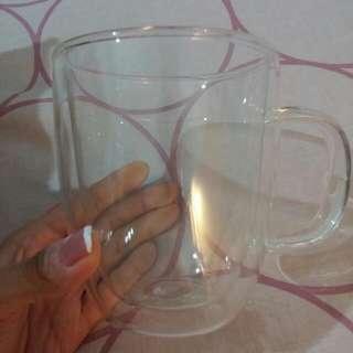 Double Walled Glass Mug With Handle 500ml