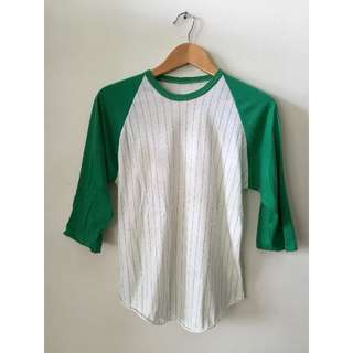 Vintage stripe baseball shirt in green and white