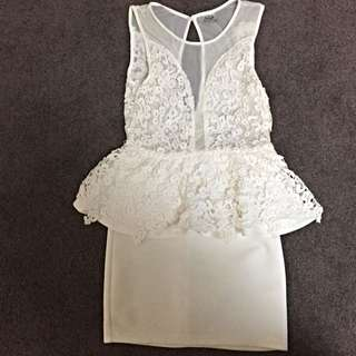 White Mini Dress With Lace Detail Size 10
