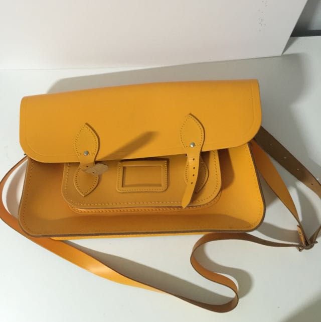 "15"" Cambridge Satchel Co bag in mustard yellow"