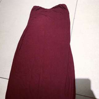 Maroon Maxi Bandeau Dress.