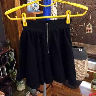 拉鍊式傘裙(黑色)短裙