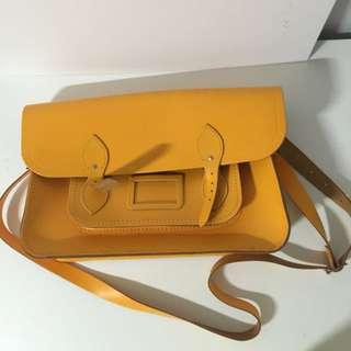 """15"""" Cambridge Satchel Co bag in mustard yellow"""