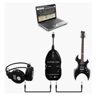 USB Guitar Link Cable With Guitar Bass Audio Recording Editing