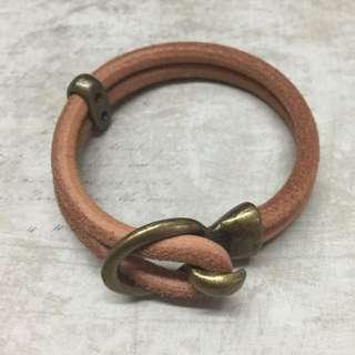 Bronze Loop N Hook Natural Tanned Leather Bracelet