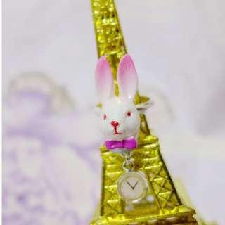 全新 N2 法國製 愛麗絲夢遊仙境 時鐘兔可調戒圍戒指