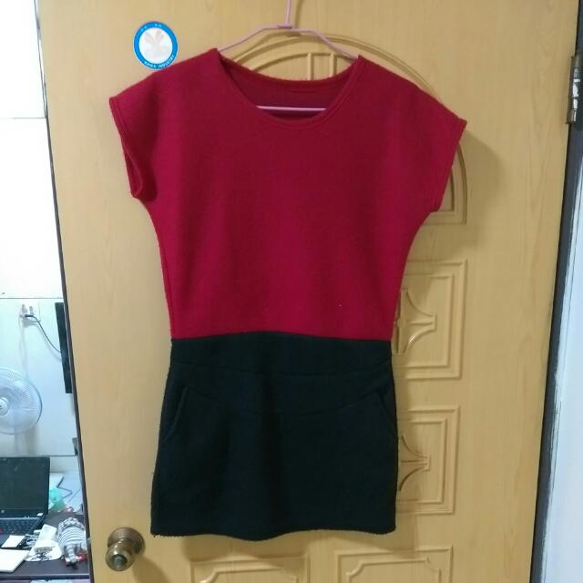 暖毛紅黑洋裝