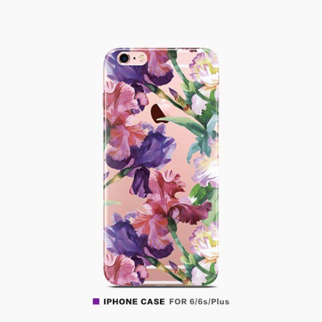 紫粉色鳶尾花透明手機殼