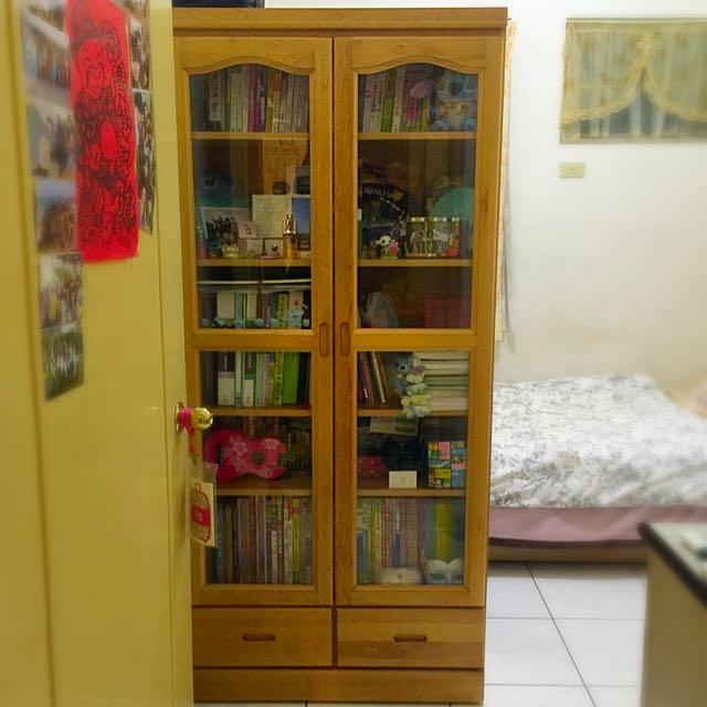 (保留)玻璃門五層書櫃