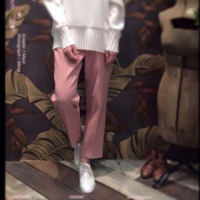 ✨降價✨藕色顯瘦直筒寬褲