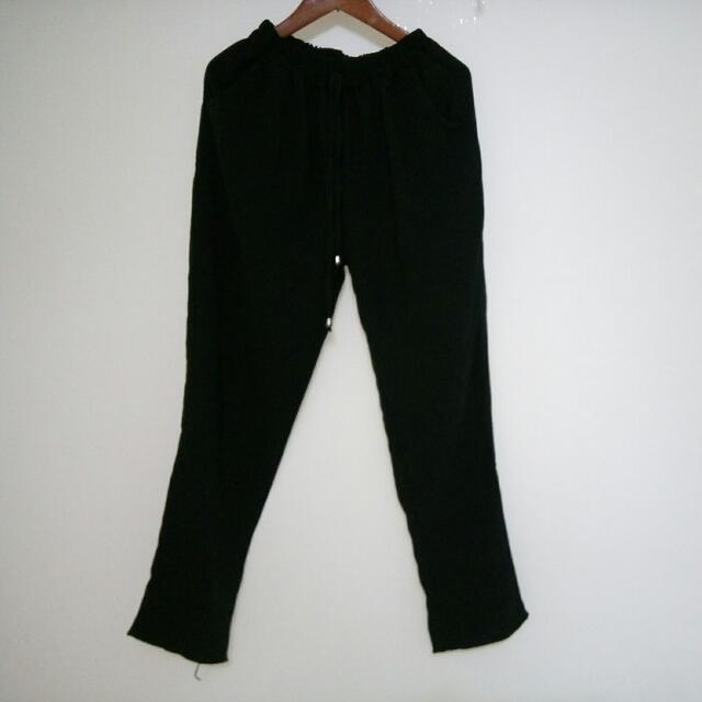 (全新)黑色雪紡老爺褲