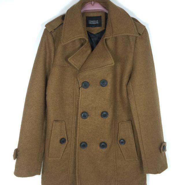 《韓版男裝羊毛大衣》出清商品超低價/雙排扣外套/毛料大衣/韓版大衣