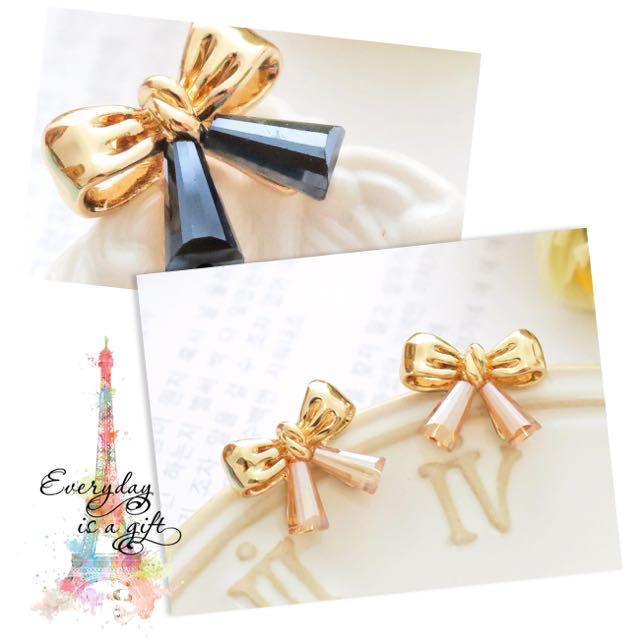 韓風耳環|晶漾迷人 金緻優雅水晶蝴蝶結耳環🎀
